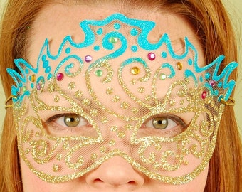 SHEER MASK- Turquoise and Gold Princess- masquerade mask, Mardi Gras, ballroom, fairy, Venetian, Halloween, tattoo