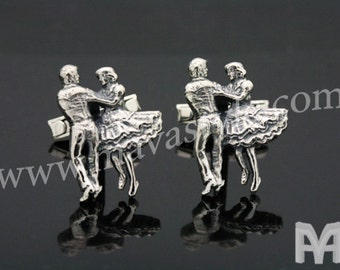 Sterling Silver Square Dancers Cufflinks