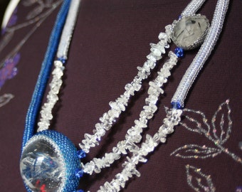 Quartz Crystal Sphere with Blue Topaz, Rutilated Quartz, Swarovski crystals, and seed beads, titled RAIN - OOAK