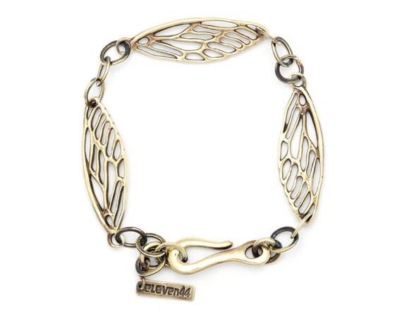 Cicada Wing Bracelet - Wing Charm Bracelet - Gold Bracelet - Wing Jewelry