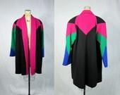80s Avant Garde Jacket . Bold Pink Wool Color Block Baggy Coat . Large XL