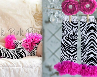 Baby Leg warmers,Zebra striped with hot pink ruffles baby and toddler leg warmers and diaper cover SET, leg warmers, Diaper cover, Blommers.