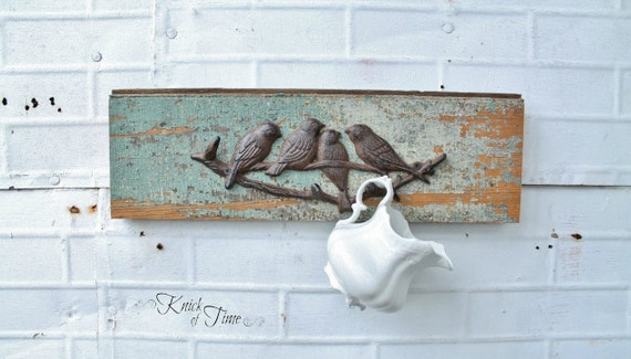Birds of a Feather Coat Rack - Coat Hook, Jewelry or Key Wall Hook - Created from Antique Reclaimed Wood