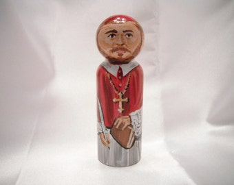 Saint Francis de Sales - Catholic Saint Wooden Peg Doll Toy - made to order