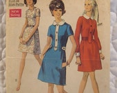 On SALE Vintage Dress Pattern 60s Classic Day Dress Simplicity 8496 Petite Size 12
