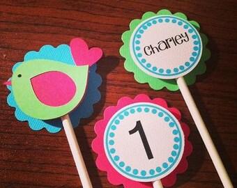Bird Cupcake Toppers - 1st Birthday Decor - Baby Shower Decor - Bird Theme Party