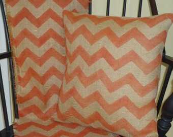 Burlap Chevron Pillow, Burlap Pillow Cover in Rustic Orange by sweet janes plan