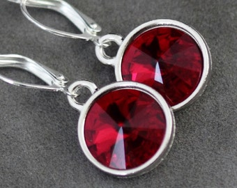 Red Ruby Earrings, July Birthstone Earrings, Ruby Red Jewelry, Ruby Drop Earrings, July Birthstone Jewelry