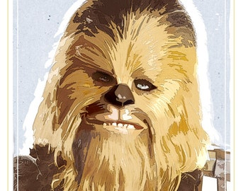 Star Wars poster - Chewbacca Poster - 13x19 print - Starwars poster  Chewy print -
