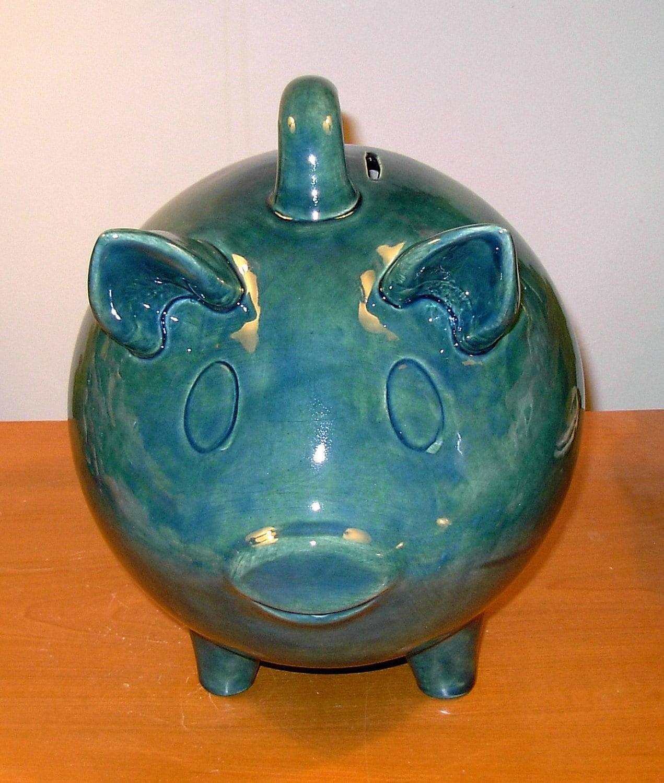 Large Ceramic Piggy Bank Vintage Design By Ceramicsbylisa