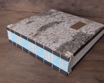 woodland guest book -  custom birch bark wedding wood book - rustic cabin personalized blue gray-made to order