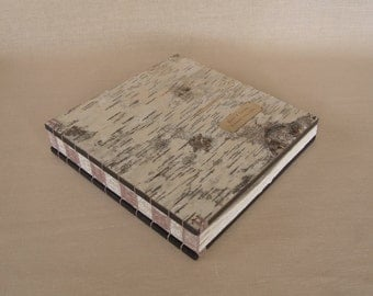large wedding guest book -  handmade journal wood book  rustic white birch bark- rose wedding - made to order