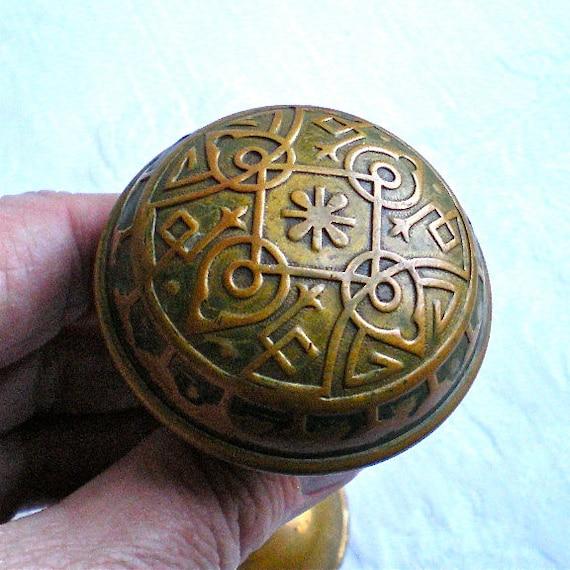 Eastlake Brass Door Knobs Antique Doorknob Ornate Home
