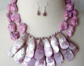 Violet Pink Gemstone Statement Necklace, Big Bold Chunky Necklace, Bib Statement Necklace, Semiprecious Stone, Raspberry Pink