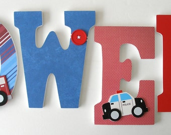 Custom Wooden Letters - Police and Fireman Fire Fighter - Baby Boy Wood Letters