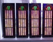 """Reserved for Judee - Four Antique Stained Glass Panels 7 1/2"""" x 21 1/2"""""""