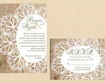 Rustic Lace Doily Wedding Invitation, Vintage Lace Wedding Invitation, Western Wedding Invitation