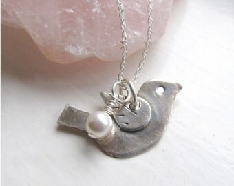Little Bird Necklace, Bridesmaid Necklace, Silver Bird Pendant, Sterling Bird Jewelry