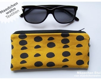 Maedchenwahn Fabric Organic Dot Pouch, Glasses Purse, Yellow Pencil Case, Mustard School Bag