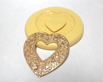Scroll Heart with opening - Flexible Silicone Mold -  Push Mold, Jewelry Mold, Polymer Clay Mold, Resin Mold, Craft Mold, PMC Mold
