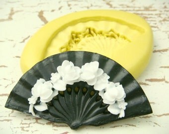 Victorian Fan with Roses - Flexible Silicone Mold - Jewelry Mold, Polymer Clay Mold, Resin Mold, Craft Mold, PMC Mold