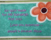 Quilt Label - Orange Daisy, Custom Made & Hand Embroidered