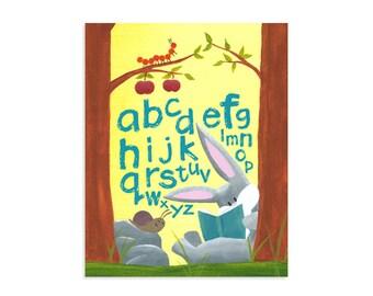 Woodland Alphabet Print - Alphabet Nursery Wall Art - Classroom Poster