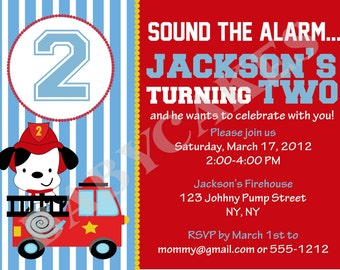 Fire Truck Birthday Invitation Fire Engine Dog  - DIY Print Your Own - Matching Party Printables available