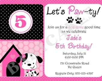 Puppy Party Birthday Invitation - Puppy Invitation Puppy party invitation invite DIY Print Your Own - Matching Party Printables available