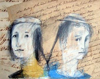 art Woman Man COUPLE drawing illustration original MATTED people portrait figurative
