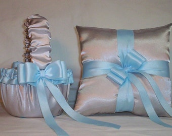 Silver Satin With Light Blue / Sky Blue Ribbon Trim Flower Girl Basket And Ring Bearer Pillow