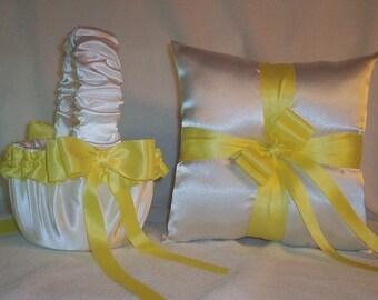 White Satin With Yellow Trim Ribbon Flower Girl Basket And Ring Bearer Pillow Set 2