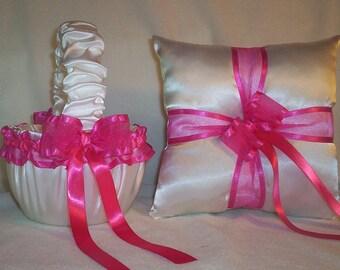 White Satin With Fuchsia Ribbon Trim Flower Girl Basket And Ring Bearer Pillow Set 1