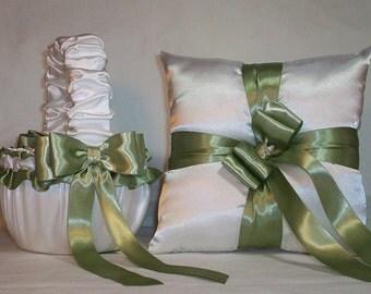 White Satin With Sage Green Ribbon Trim Flower Girl Basket And Ring Bearer Pillow Set 2