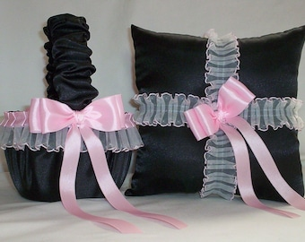 Black Satin With Light Pink Lace Trim Flower Girl Basket And Ring Bearr PIllow Set 2