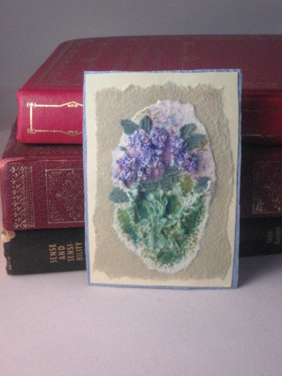 ACEO Hand Embroidered Original 'The Hydrangea Bush'