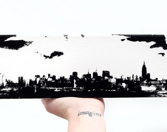 New York City Skyline Canvas (12 x 4 inches, White with Black) Screenprint/Painting NYC Home Decor