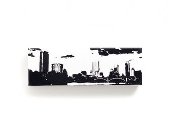 Austin Skyline Canvas (12 x 4 inches, Black and White) Cityscape Skyline Screen Print and Painting Home Decor