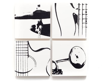 Music Wall Art Set of 4 (6 x 6 inches each) : Guitar, Trumpet, Bass, & Cymbal on Wood (White with Black) Screen Print and Painting