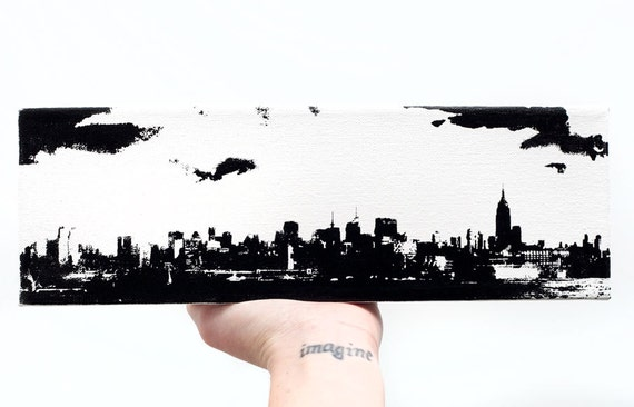 New York City Skyline Canvas (12 x 4 inches, Black and White) Cityscape Screenprint and Painting NYC Home Decor