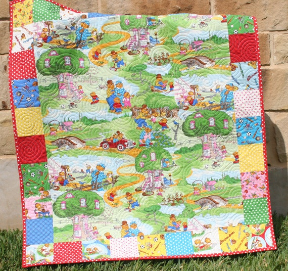 Reserved for Cheryl Berenstain Bears Quilt Swimming Fishing Sports Boy or Girl MADE TO ORDER