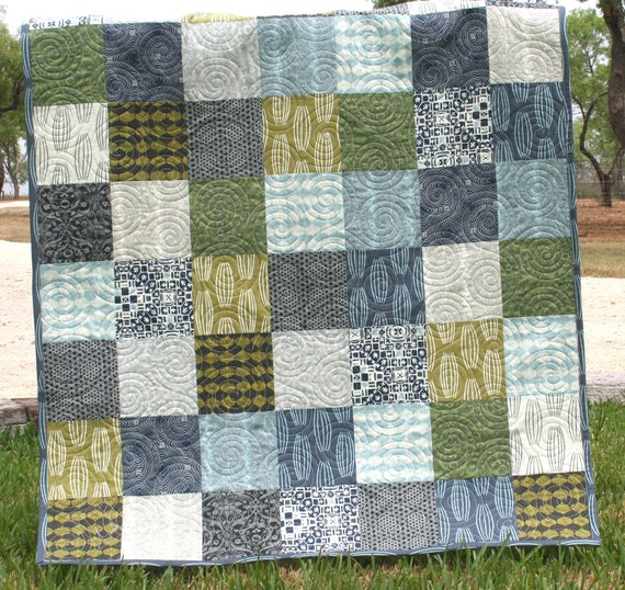 Earth Tones Baby Boy Quilt Modern Contemporary Blue Grey