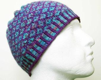 Fairisle Hat, Handspun Cap, Purple & Turquoise Toque, Unique Artisan Hat, OOAK Knit Beanie, Fairisle Handspun Knitted Hat, Spacedyed Yarn
