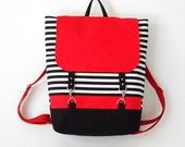 RED. Black stripe canvas backpack / Diaper bag / Diaper backpack / Laptop bag / School bag  with Front pockets, Design by BagyBags