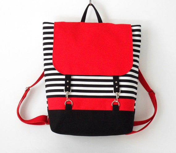 RED. Black stripe canvas backpack / Laptop backpack / School bag / Laptop bag / With clasp closure, Front pocket, Design by BagyBags