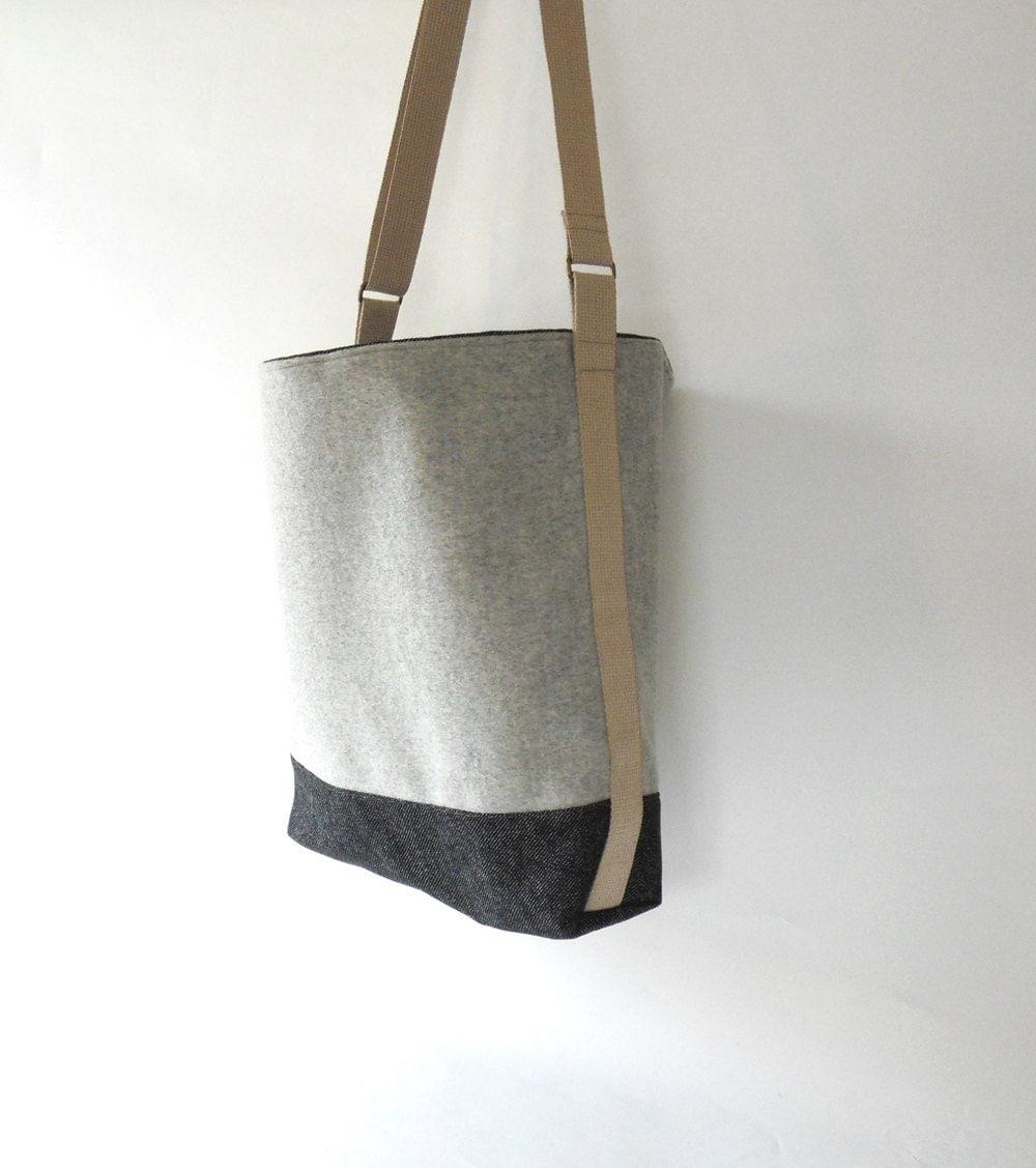 melange gray denim wool shoulder bag diaper bag by bagybags. Black Bedroom Furniture Sets. Home Design Ideas