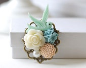 Bird Brooch Blue Bird Pink Blue Ivory Flower Brooch Bridal Sash Brooch Wedding Bouquet Accessory Vintage Style Floral Collage Brooch
