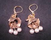 Reclaimed Vintage Earrings, Upcycled, Reclaimed, Wedding Earrings, Shabby Chic, Gold, Pearls, OOAK, Pierced, Bridesmaid Gift - Wedding Bells