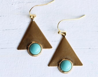 Turquoise Triangle Earrings ... Geometric Southwestern Eighties Vintage Gold Brass