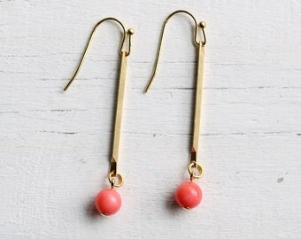 Coral Stick Earrings ... Vintage Brass Stick with Flamingo Pink Bead Chalcedon
